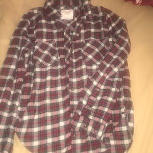 Abercrombie and Fitch red and white plaid shirt